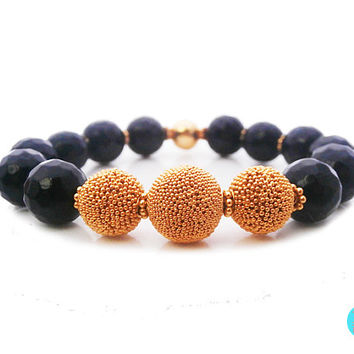 22 Carat Gold Vermeil and Faceted Black Onyx Bracelet, 10mm Black Onyx and Gold Vermeil Granulation Beads Bracelet