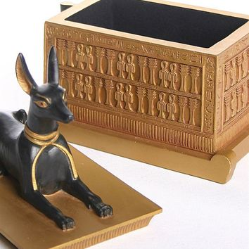 Anubis Jackal Dog Egyptian Treasure Box from Tut Tomb 6.5H