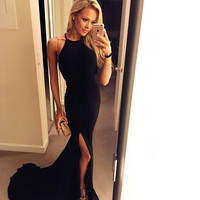 Floor Length Split Black Prom Dresses