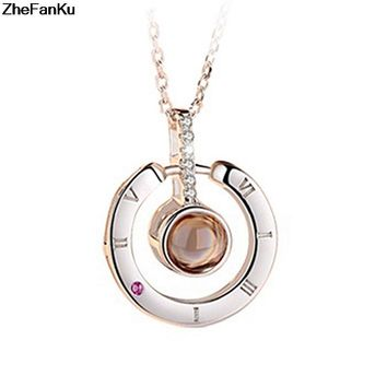 Fashion Charm Women 100 Languages I Love You Memory Necklace Rose Gold Roman Numerals Crystal Pendant Necklace