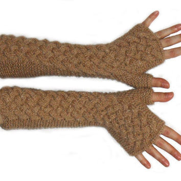 Fingerless Gloves Cashmere Wool Cable Hand Warmers Knit by Aimarro