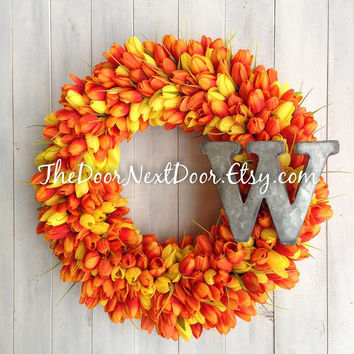 Tulip Wreath - Spring Wreath - Monogram Wreath - Easter Wreath - Mothers Day Wreath