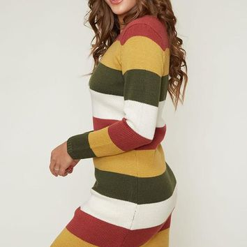 Fall Sweater Dress - Rust and Olive