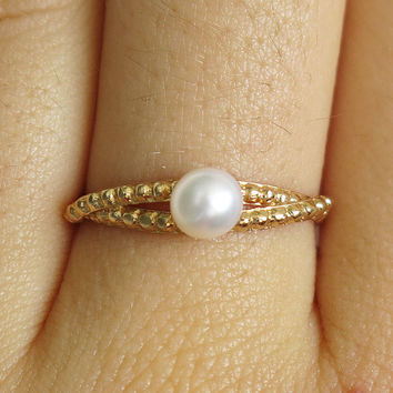 gold ring, pearl ring, tiny pearl ring, thin pearl ring, cocktail ring, thin gold ring, stacking ring, dainty ring, bridesmaid gift