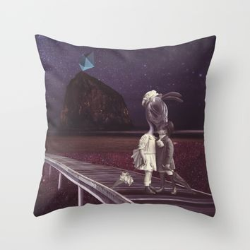 Kiss of love in space Throw Pillow by Lostanaw