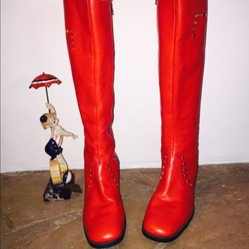 60s Mod Red Knee High Leather Boots Zip Up Italian