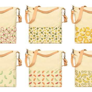 Watercolor Fruit Patterns Printed Canvas Crossbody Messenger Bags WAS_35