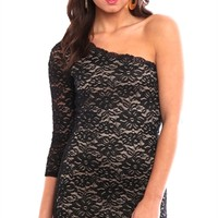 Lace One Shoulder Sleeve Dress with Scalloped Neckline