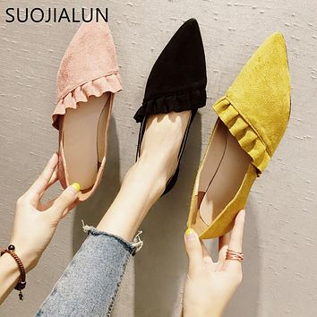 SUOJIALUN New 2018 Autumn Fashion High Quality Pointed Toe Women Flat Shoes Ruffles Suede Leather Ballerina Ballet Flat