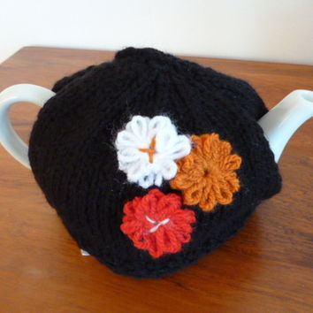 Black 2 Cup Teapot Cozy with Flowers
