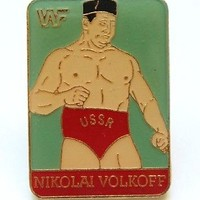 WWF WORLD WRESTLING VINTAGE PIN BUTTON * NIKOLAI VOLKOFF * RARE FIND!