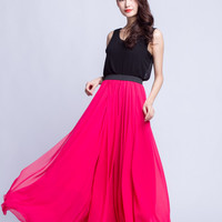 High Waist Bridal Skirt Chiffon Long Skirts Beautiful Elastic Waist Summer Skirt Floor Length Beach Skirt (101) ,110#