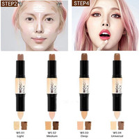 3D Face 2 in1 Double Use 4 Colros Contour Stick Highlighter Stick Contouring Bronzer Cream Makeup Glow Kit Makeup Beauty