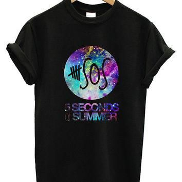 5SOS Five Seconds Of Summer Galaxy Nebula Printed Supreme Men Cotton T Shirt Tee - SS3