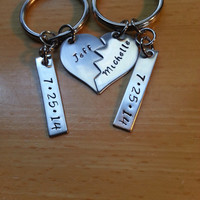 Hand Stamped Keychain Split Heart Keychain Couples Keychain - Wedding Gift or Anniversary Gift