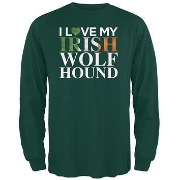 St. Patricks Day - I Love My Irish Wolfhound Forest Green Adult Long Sleeve T-Shirt