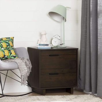 Modern End Table Nightstand in Brown Wood Finish