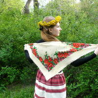 White vintage Russian shawl, ivory shawl with flowers, colorful shawl for needlework, has several defects, woolen fabric. White handkerchief