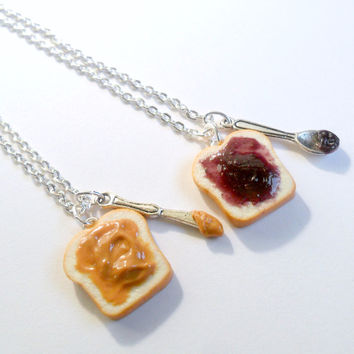 Peanut Butter Jelly Necklace Set, BFF, Choice of Stainless Steel Chain