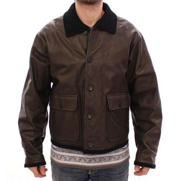 Dolce & Gabbana Brown Calf Leather Jacket Flight Aviator