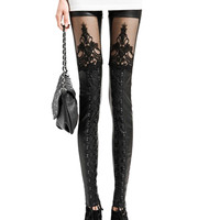 Black Lace Leggings With Tape Detail