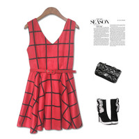Winter Sleeveless V-neck Vest Dress One Piece Dress [4918277508]