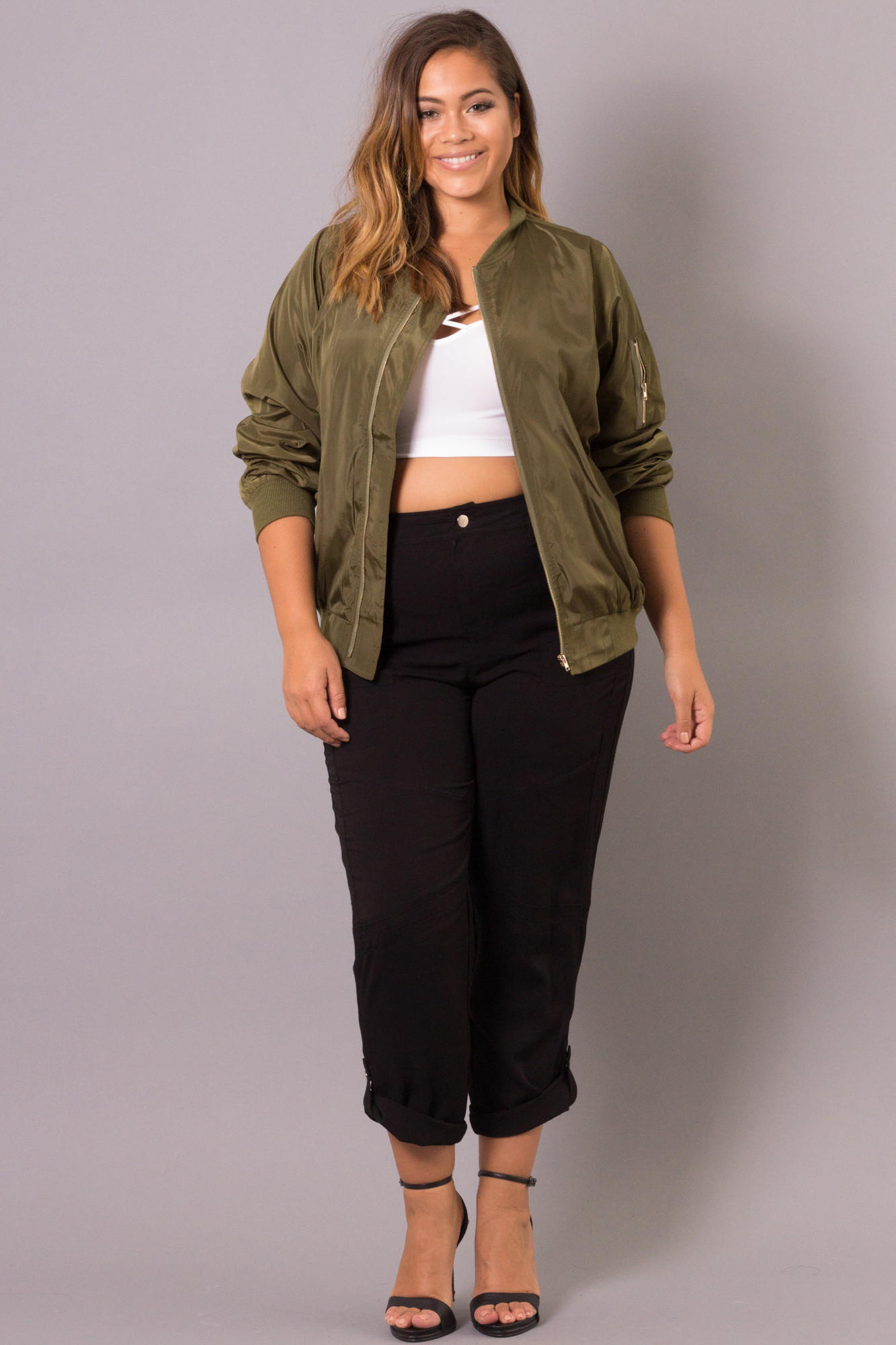 d5270d1f371a8 Plus Size Bomber Jacket - Olive from Curvy Sense