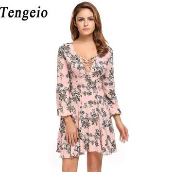 Tengeio 2017 Women Lace Up V-Neck Flare Long Sleeve Floral Dress Print High Waist Casual Bohemian Short Skater Dress 1115