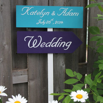 Custom Wedding Directional Sign, Turquoise Blue and Purple, Peacock wedding, 2 Signs, with ribbon or stake