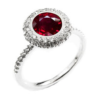 Halo Diamond Ring with 1.03 ct. Extra Fine Ruby surrounded with 56 Diamonds D-E-F VVS