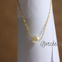 SINGLE PEARL NECKLACE~ Floating Pearl, Pearl Jewelry, Freshwater Pearl Necklace, Bridal Pearl Necklace, White Pearl, ilovecheesygrits