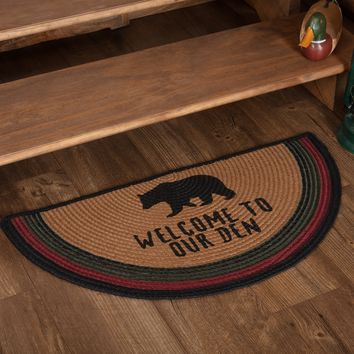 Wyatt Bear Welcome To Our Den Braided Half Circle Rug