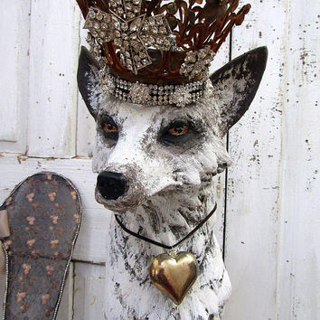 Silver fox statue distressed gray white sculpture hand painted embellished crown ornate large tall dog figure home decor anita spero design