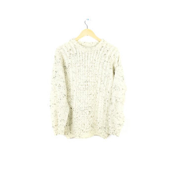 Vtg ivory wool cable knit irish fisherman sweater white wool sweater pullover crew neck  medium - large