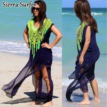 Beach Cover Up Tunics For Swim Suit Kaftan Dress 2018 Chiffon Front Embroidered Loose Big Size Shirt Sun Saida De Banho Mayo