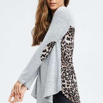 High Low Leopard Print Top - Heather Gray