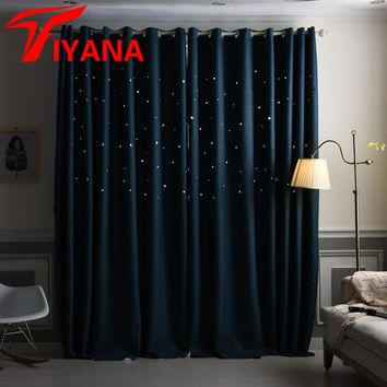 Tiyana Solid Linen 3D Hollow Stars Shade Curtains For Kids Living Room Bedroom Blackout Cloth Summer Romantic Cortinas HP038#30