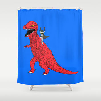 Dinosaur B Forever Shower Curtain by Joe Carr