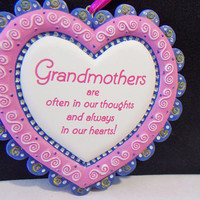 Grandmother Heart Ornament Valentines Day Grandparents Christmas Ruffled Collectible Home Decor