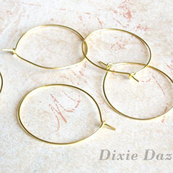 Wine charm supplies, 50 gold 30mm hoop earrings for beading, engagement party wine glass charms, stitch markers, party charms