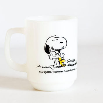 "Vintage Fire King Snoopy Mug, Peanuts Snoopy Woodstock Mug, ""This Has Been a Good Day"" Anchor Hocking Coffee Cup 1965"