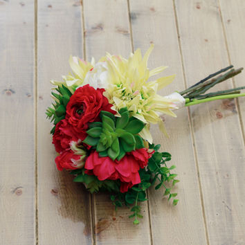 Silk Dahlia Succulent and Rose in Hot Pink, Lime, and Cream Wedding Bouquet