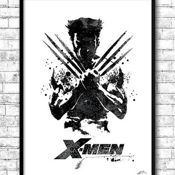 Wolverine Watercolor Print, X-Man Poster, Wall Hanging, Giclee wall print, Super hero art, Movie poster, Wolverine Illustration, Home Decor