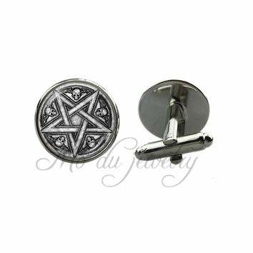 Gothic Glass Dome Cuff-Link Skull Pentacles Cuff Button Inverted Pentagram Jewelry
