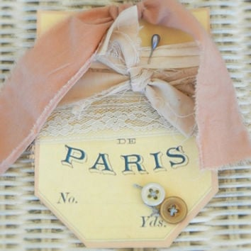 shabby paris gift tag valentine wedding bridal baby shower love romantic fabric lace gift embellishment