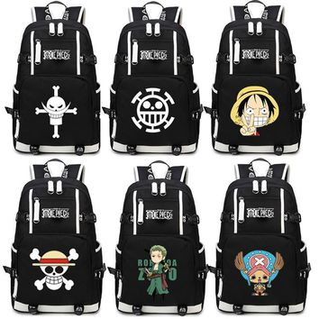 Japan Anime One Piece Luffy Team Glow In Dark Light Women Men Backpack Schoolbag Bag Boys Girls Student book bag