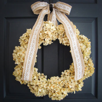 Shabby Chic Wreath - Cream Hydrangea Wreath - Rustic Decor - Wedding Decoration - Bridal Shower