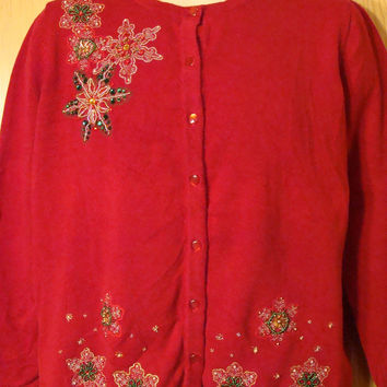 Tacky Red Sweater with Bling Snowflakes (f1204)