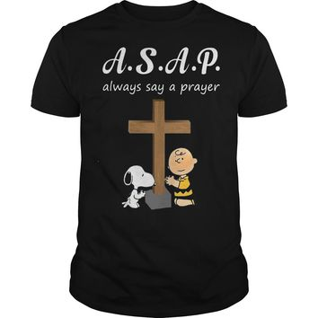 ASAP always say a prayer Snoopy and Charlie shirt Premium Fitted Guys Tee