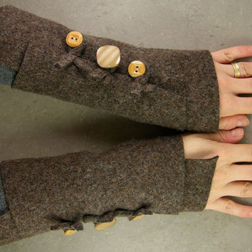 Brown arm warmers fingerless mittens recycled wool by piabarile